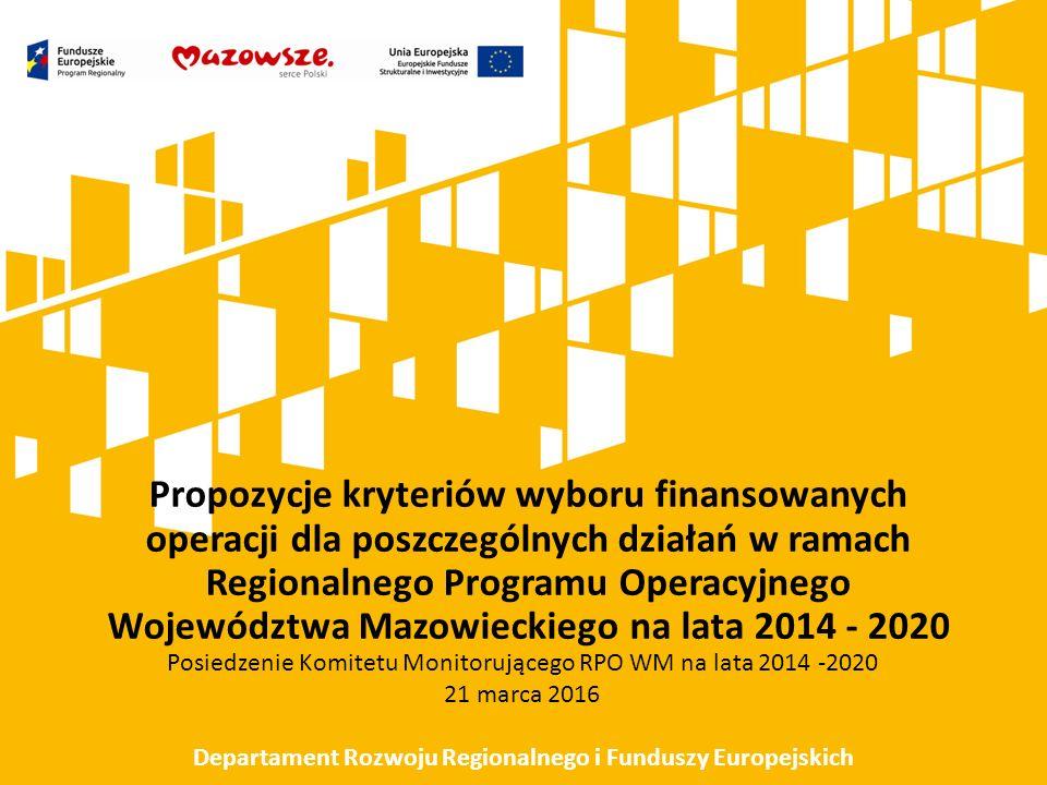 Kryteria szczegółowe wyboru projektów konkursowych w ramach Regionalnego Programu Operacyjnego Województwa Mazowieckiego na lata 2014 – 2020 ze środków EFRR Działanie 4.1 Odnawialne źródła energii