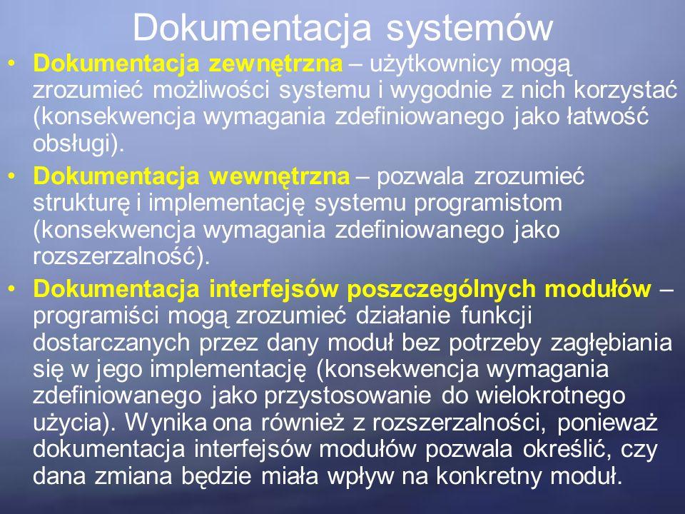 Dokumentacja systemów Zamiast traktować dokumentację jako osobny produkt, należy pisać maksymalnie samodokumentujący się kod.