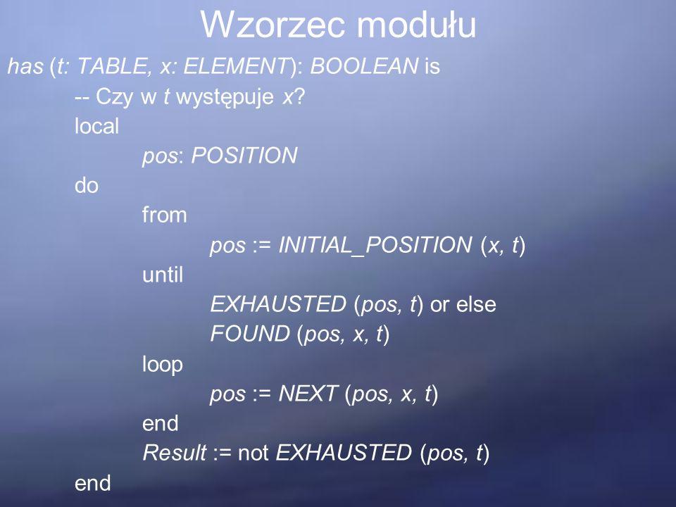Pięć wymagań dotyczących struktury modułu Zróżnicowanie typów – wzorzec podprogramu has zakłada istnienie tabeli zawierającej obiekty typu ELEMENT.