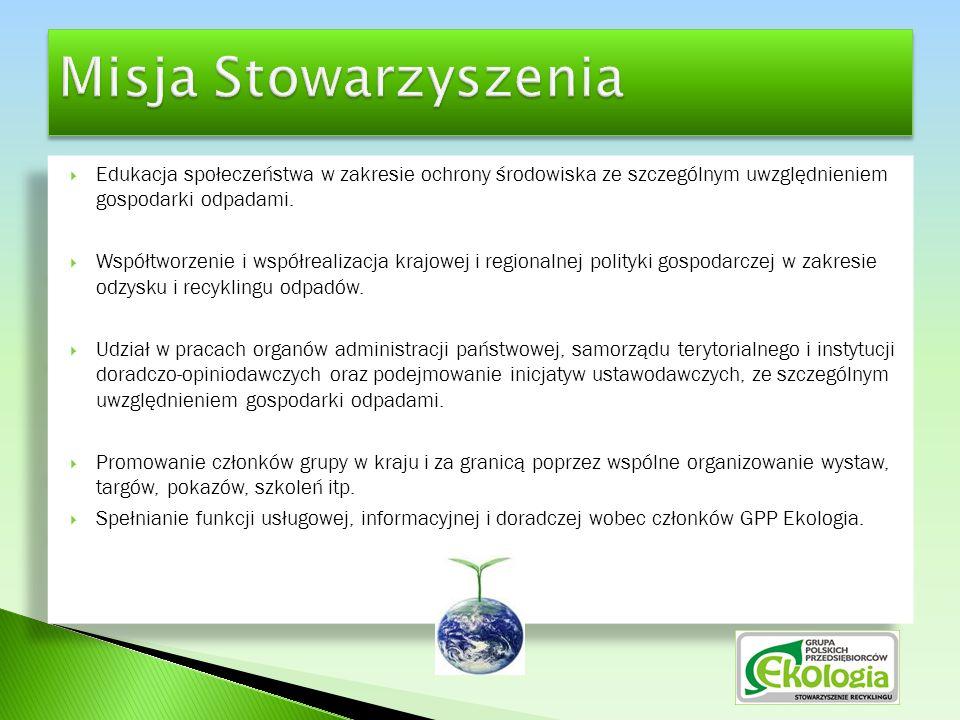  Współdziałanie na rzecz utworzenia i rozwoju ogólnopolskiego zintegrowanego systemu pozyskiwania i przetwarzania odpadów, które mogą zostać wykorzystane w procesie odzysku i recyklingu,  Współpraca i wzajemne wsparcie członków stowarzyszenia, wymiana doświadczeń i informacji,  Wspieranie rozwoju gospodarczego branży związanej z ochroną środowiska i gospodarowaniem odpadami,  Wspieranie ochrony środowiska polegające na ograniczaniu ilości odpadów poprzez ich gospodarcze wykorzystanie,  Kształtowanie wizerunku branży jako przejawiającej troskę o jakość i ochronę środowiska naturalnego zgodnie z zasadą zrównoważonego rozwoju zakładającą odpowiednio i świadomie ukształtowane relacje pomiędzy wzrostem gospodarczym i dbałością o środowisko.