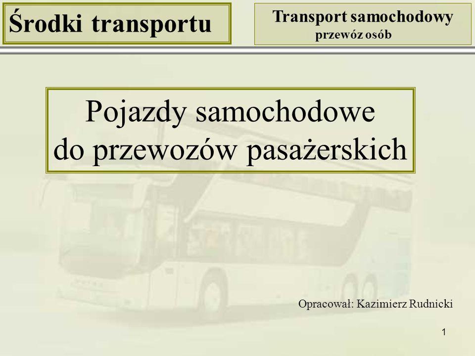 2 Środki transportu Transport samochodowy przewóz osób Pojazdy samochodowe do przewozu osób samochody osobowe autobusy Klasyfikacja pojazdów samochodowych do przewozu osób