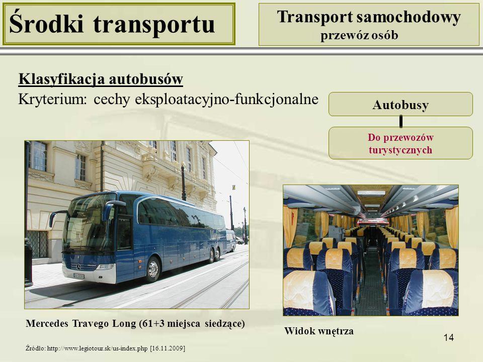 """15 Środki transportu Transport samochodowy przewóz osób Klasyfikacja autobusów Kryterium: cechy eksploatacyjno-funkcjonalne Ambulans do pobierania krwi Autobusy Do celów specjalnych Autobus szkolny """"Gimbus Źródło: http://pl.wikipedia.org/wiki/Autobus_szkolny [16.11.2009] Źródło: http://www.rckik-warszawa.com.pl/images/vacanza.jpg [16.11.2009]"""
