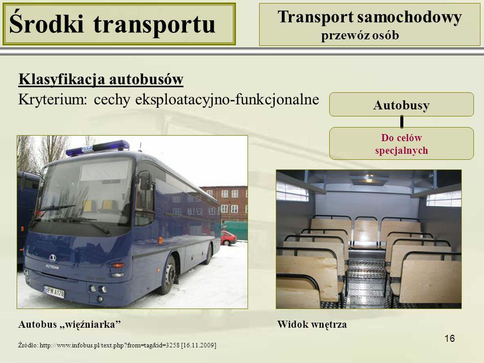 17 Środki transportu Transport samochodowy przewóz osób Klasyfikacja autobusów Kryterium: cechy eksploatacyjno-funkcjonalne Neoplan Autobusy Do celów specjalnych Solaris Autobusy w wersji lotniskowej Źródło: http://www.solarisbus.pl/autobusy_ specjalne,galeria.html [16.11.2009] Źródło: http://www.infobus.pl/text.php?id=13678&from=tag [16.11.2009]