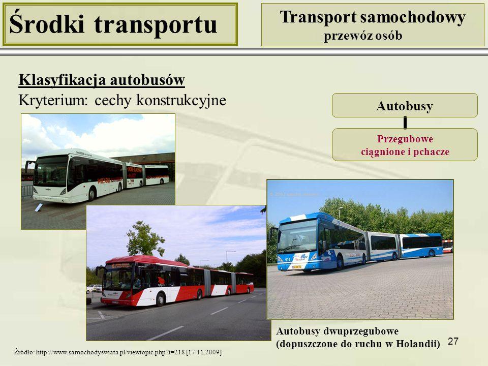 28 Środki transportu Transport samochodowy przewóz osób Klasyfikacja autobusów Kryterium: cechy konstrukcyjne Autobusy Piętrowe Autobus piętrowy przegubowy Autobus piętrowy trzyosiowy Autobus piętrowy czteroosiowy Źródło: http://www.manfredgrabowski.de/Megaliner.jpg [17.11.2009] Źródło: http://galerie-autobusu.carnero.cc/34/25-2-2_ Neoplan_Jumbocruiser_N138-4.jpg [17.11.2009] Źródło: http://pl.wikipedia.org/w/index.php?title=Plik:Megabus_ Van_Hool_TD925_DD014_in_New_York_City.jpg [17.11.2009]