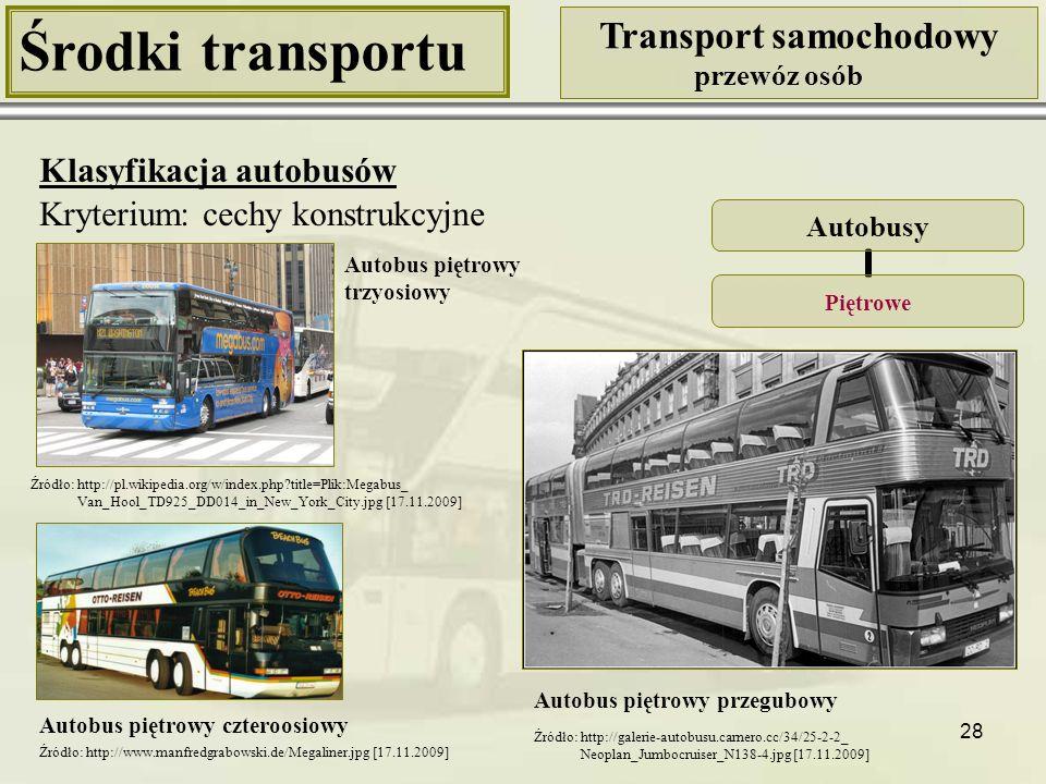 29 Środki transportu Transport samochodowy przewóz osób Klasyfikacja autobusów Autobusy NiskopodłogoweNiskowejścioweŚredniopodłogoweWysokopodłogowe Kryterium: wysokość podłogi
