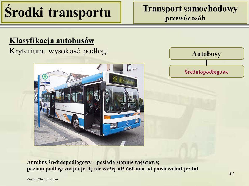 33 Środki transportu Transport samochodowy przewóz osób Klasyfikacja autobusów Kryterium: wysokość podłogi Autobusy Wysokopodłogowe Stopnie wejściowe Autobus wysokopodłogowy – posiada stopnie wejściowe; poziom podłogi znajduje powyżej 660 mm od powierzchni jezdni Źródło: http://pl.wikipedia.org/wiki/Autobus_wysokopod%C5%82ogowy [17.11.2009] Źródło: http://www.infobus.pl/text.