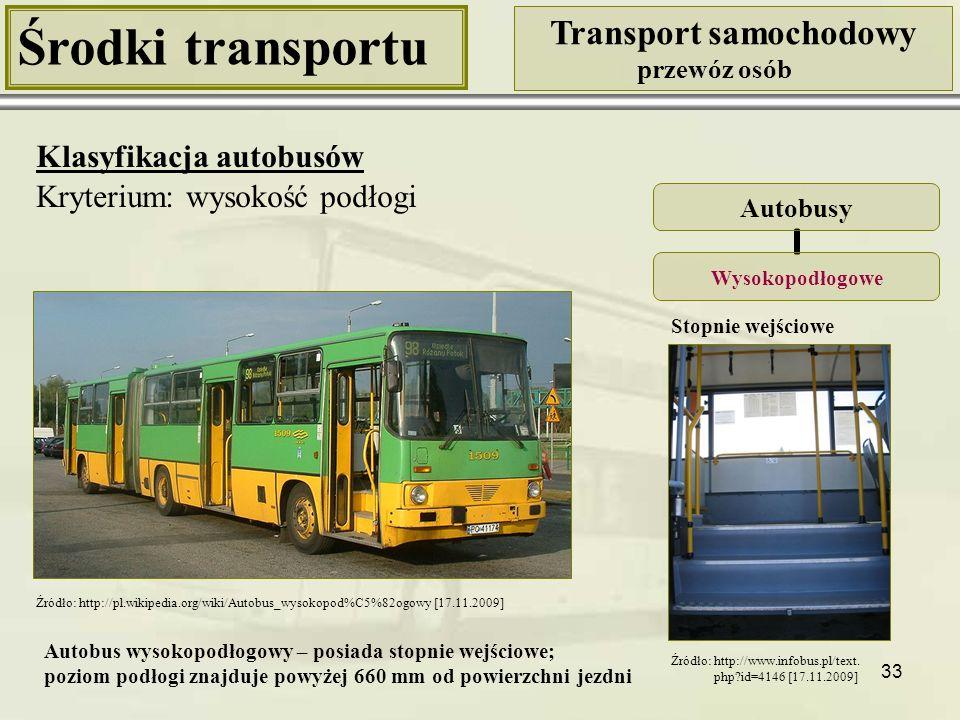 34 Środki transportu Transport samochodowy przewóz osób Klasyfikacja autobusów Kryterium: przepisy unijne zawarte w dyrektywie 2001/85/WE Autobusy o pojemności poniżej 22 osób łącznie z kierowcą Klasa AKlasa B o pojemności od 22 osób łącznie z kierowcą Klasa IKlasa IIKlasa III Klasa A: pojazdy z miejscami sie- dzącymi oraz obszarami do stania Klasa B: pojazdy tylkoz miejscami siedzącymi Klasa I: pojazdy z miejscami siedzącymi oraz obszarami do stania, umożliwiającymi przewóz pasażerów na tra- sach o dużej liczbie przystanków (autobusy miejskie) Klasa II: pojazdy przeznaczone przede wszystkim do przewo- zu pasażerów na miejscach siedzących z pewnymi obszarami do stania (autobusy międzymiastowe) Klasa III: pojazdy tylko z miejscami siedzącymi (autokary)
