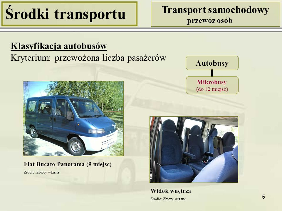 6 Środki transportu Transport samochodowy przewóz osób Klasyfikacja autobusów Kryterium: przewożona liczba pasażerów Mercedes Sprinter (19 miejsc) Widok wnętrza Autobusy Minibusy (do 20 miejsc) Źródło: Zbiory własne