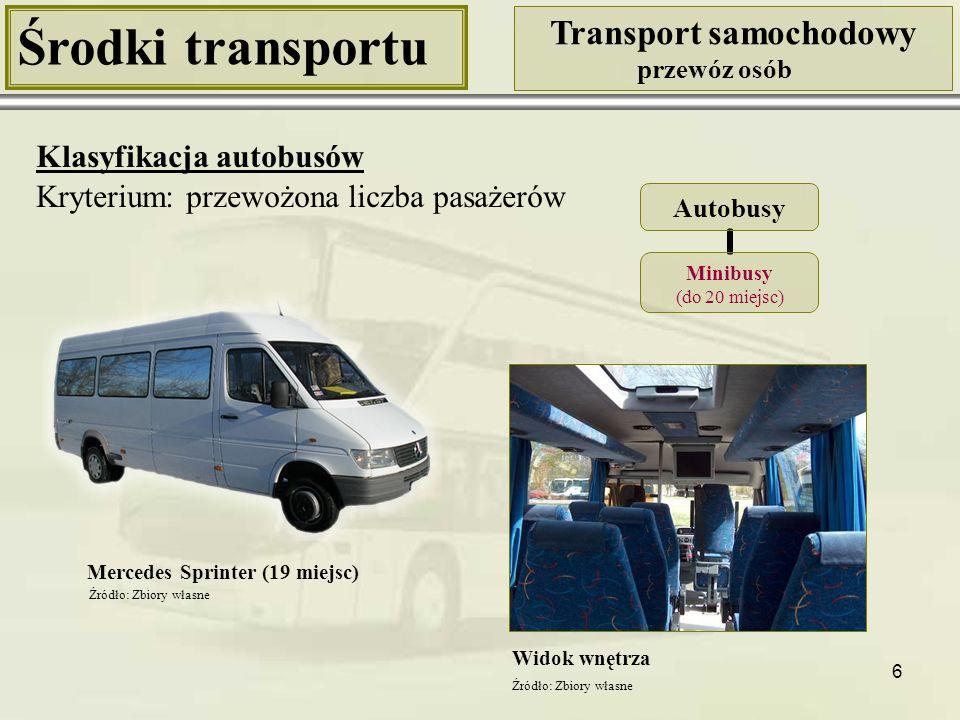 7 Środki transportu Transport samochodowy przewóz osób Klasyfikacja autobusów Kryterium: przewożona liczba pasażerów Autosan Gemini (30 miejsc) Widok wnętrza Autobusy Autobusy średnie (do 50 miejsc) Źródło: http://wtiguae.com/images/CategoryImages/A0808T.jpg [16.11.2009]