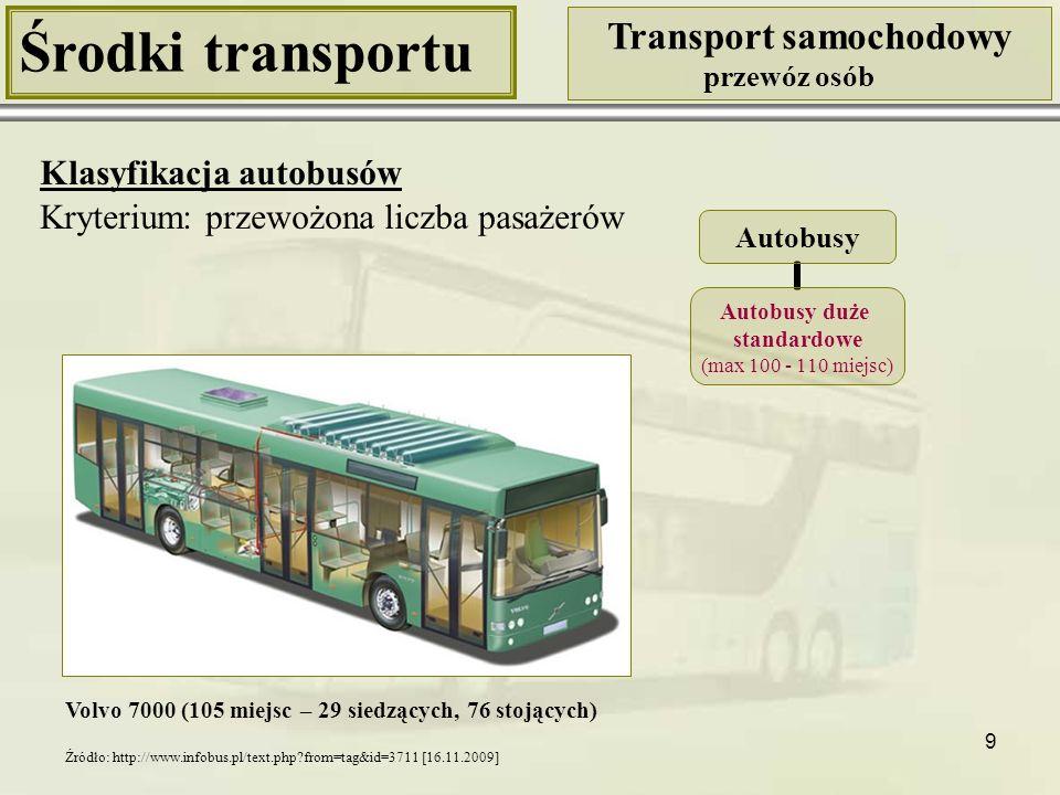 10 Środki transportu Transport samochodowy przewóz osób Klasyfikacja autobusów Kryterium: przewożona liczba pasażerów Mercedes New Urban Bus (193 miejsca) Autobusy Autobusy duże przegubowe (max 135 – 225 miejsc) Źródło: http://www.emercedesbenz.com/Images/Nov05/30MercedesNewUrbanBus.jpg [16.11.2009]