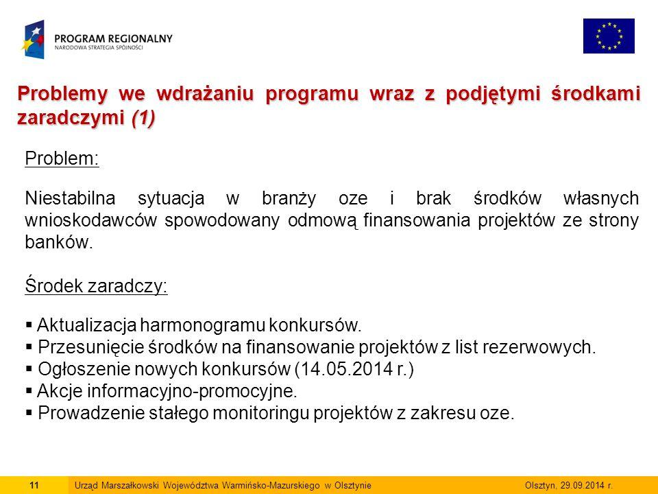 12Urząd Marszałkowski Województwa Warmińsko-Mazurskiego w Olsztynie Olsztyn, 29.09.2014 r.