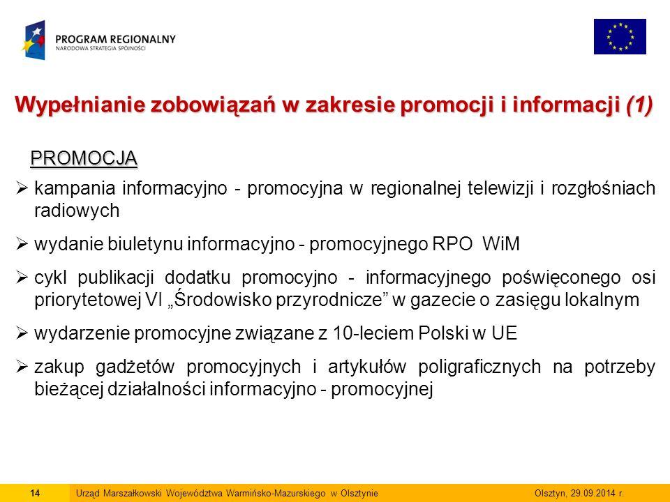 15Urząd Marszałkowski Województwa Warmińsko-Mazurskiego w Olsztynie Olsztyn, 29.09.2014 r.
