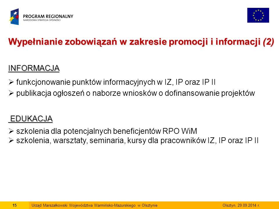 16Urząd Marszałkowski Województwa Warmińsko-Mazurskiego w Olsztynie Olsztyn, 29.09.2014 r.