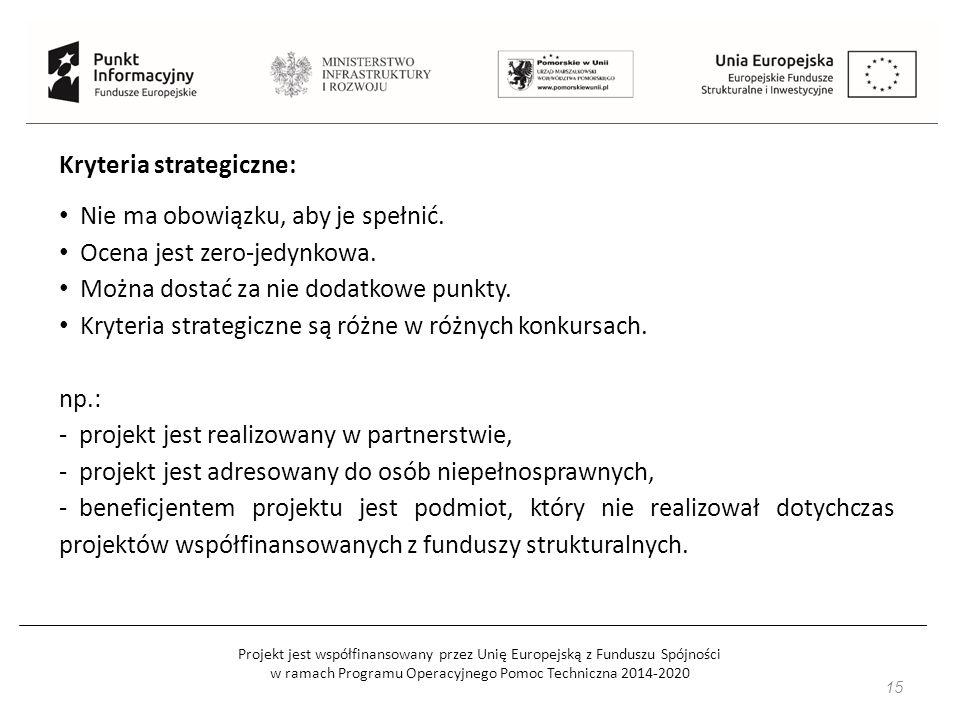 Projekt jest współfinansowany przez Unię Europejską z Funduszu Spójności w ramach Programu Operacyjnego Pomoc Techniczna 2014-2020 16 Karta oceny merytorycznej: sprawdzenie, czy projekt spełnia kryteria horyzontalne i kryteria dostępu, sprawdzenie uzasadnienia realizacji projektu, jego cele, wskaźniki, sprawdzenie opisu grupy docelowej projektu oraz działań do niej dostosowanych, sprawdzenie harmonogramu w oparciu o zaplanowane działania (kompatybilność, racjonalność, kompleksowość i efektywność), sprawdzenie budżetu projektu (niezbędność, racjonalność, efektywność i kwalifikowalność wydatków), sprawdzenie poprawności kwalifikowalności wydatków w ramach cross- financingu.