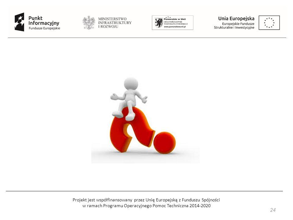 Projekt jest współfinansowany przez Unię Europejską z Funduszu Spójności w ramach Programu Operacyjnego Pomoc Techniczna 2014-2020 25 Przydatne strony internetowe: www.mir.gov.pl www.funduszeeuropejskie.gov.pl www.pois.gov.pl www.poir.gov.pl www.power.gov.pl www.popc.gov.pl www.popt.gov.pl www.rpo.pomorskie.eu www.pomorskiewunii.pl