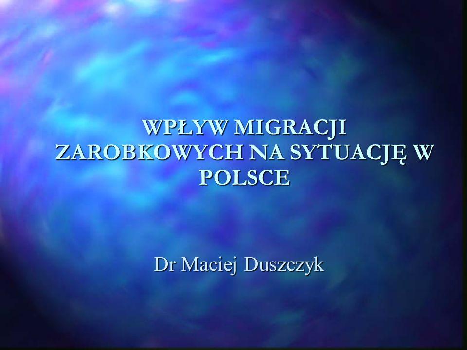 Migracje przed 1 maja 2004 n Ponad 450 tys.Polaków pracowało w krajach UE legalnie n Transfery ok.