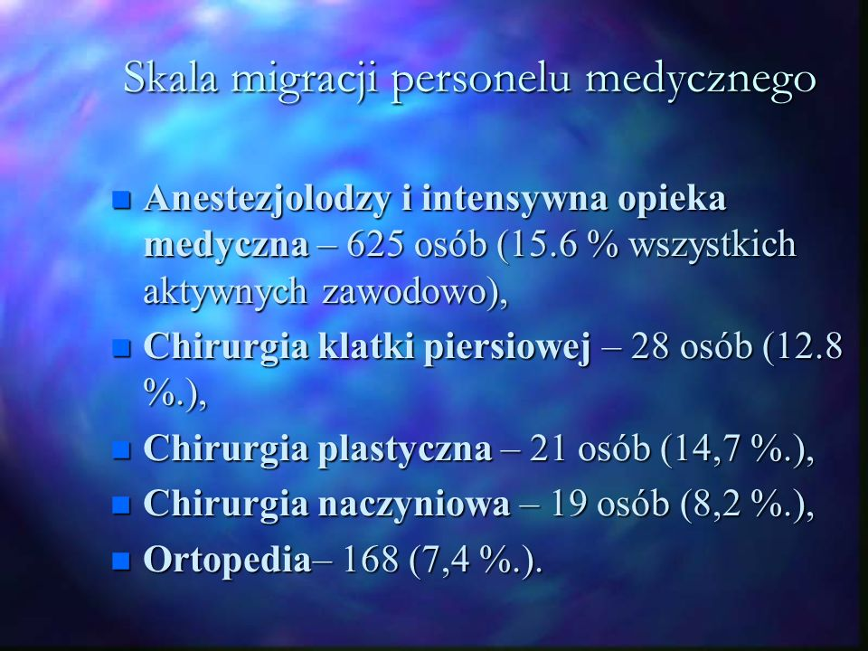Wpływ na sytuację na rynku pracy n Poziom bezrobocia w Polsce - >15% n Od roku obserwowany jest wzrost stopy zatrudnienia przy jednoczesnym spadku stopy bezrobocia n Głównymi przyczynami spadku bezrobocia w Polsce są kwestie demograficzne i eksport n Migracja odgrywa jedynie rolę drugoplanową