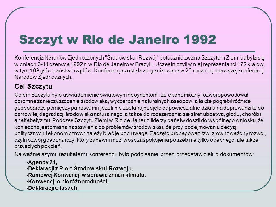 Agenda 21 Agenda 21 została przyjęta na Szczycie Ziemi w Rio de Janeiro w 1992 roku.