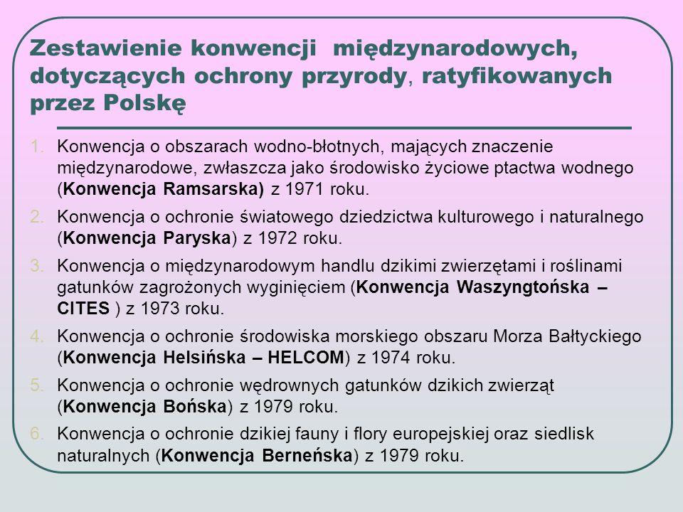 Zestawienie konwencji międzynarodowych, dotyczących ochrony środowiska, ratyfikowanych przez Polskę 1.Konwencja w sprawie transgranicznego zanieczyszczenia powietrza na dalekie odległości (Konwencja Genewska) z 1979 roku.