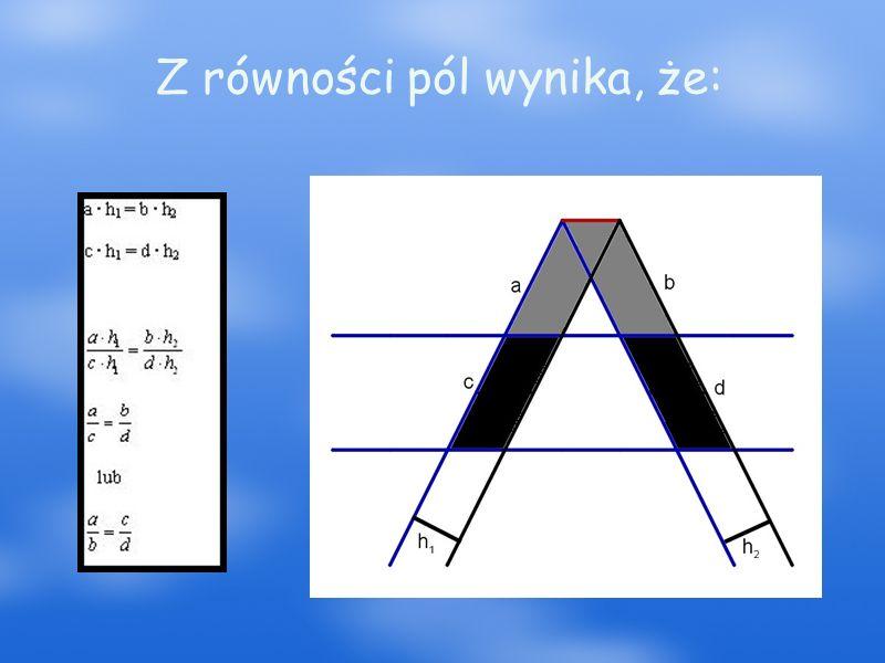 Twierdzenie odwrotne do twierdzenia Talesa Jeśli na jednym ramieniu kąta o wierzchołku O wybierzemy punkty A i B, a na drugim ramieniu punkty C i D w taki sposób, że zachodzi proporcja to proste AC i BD są równoległe.