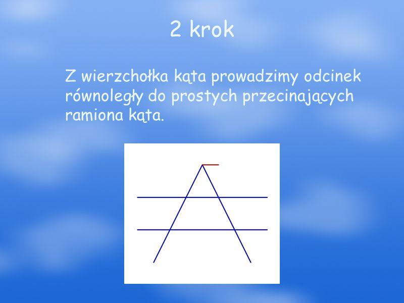 3 krok Z końców odcinka rysujemy dwie półproste, które są równoległe wzajemnie do siebie.