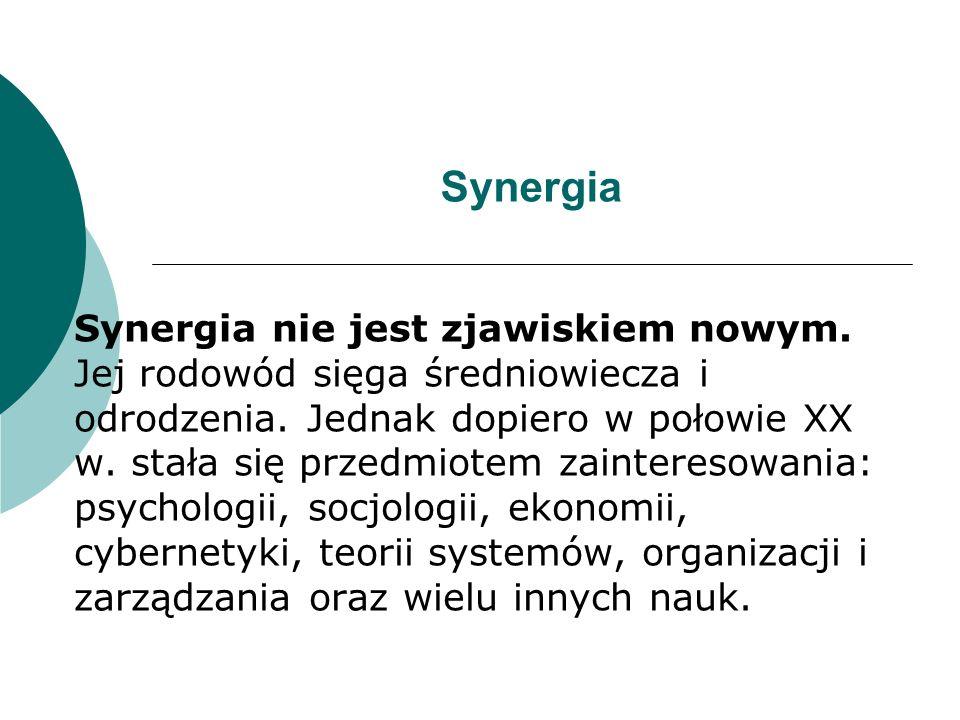Synergia to kooperacja, współdziałanie czynników.