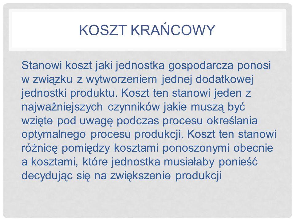 KOSZT KRAŃCOWY PRZYKŁAD Producent wydobywa obecnie 60 ton miedzi dziennie, ponosząc koszty całkowite w wysokości 150.000 zł.