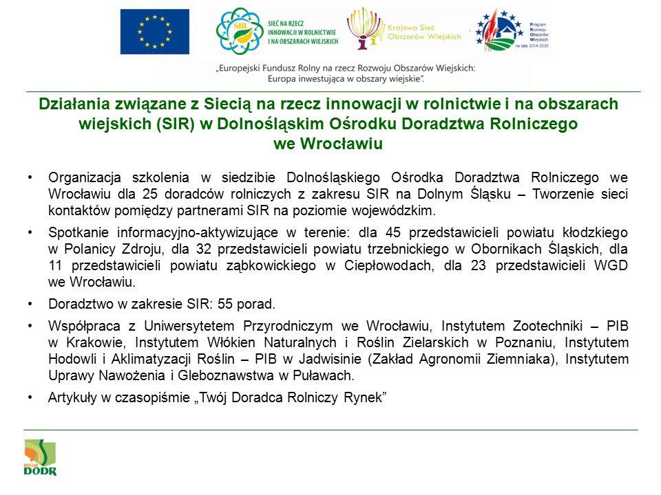 Działania związane z Siecią na rzecz innowacji w rolnictwie i na obszarach wiejskich (SIR) w Dolnośląskim Ośrodku Doradztwa Rolniczego we Wrocławiu Spotkanie informacyjno-aktywizujące w Kłodzku – 20.11.2015 r.