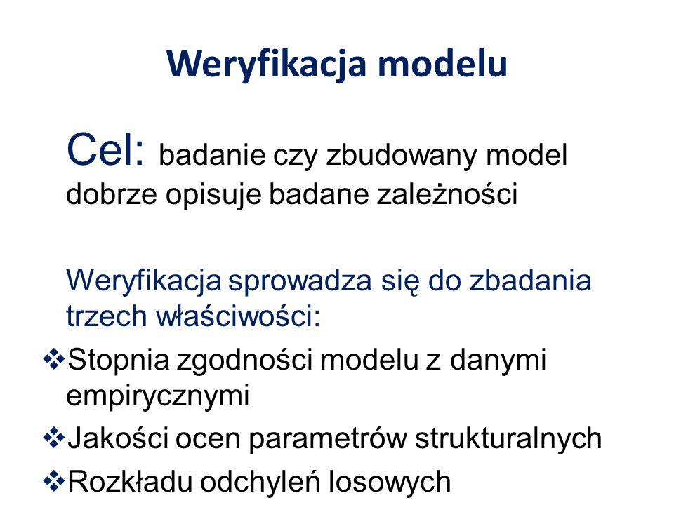 Ocena zgodności modelu z danymi empirycznymi Wariancja odchyleń losowych Gdzie e jest różnicą wartości empirycznej i teoretycznej wynikającej z modelu