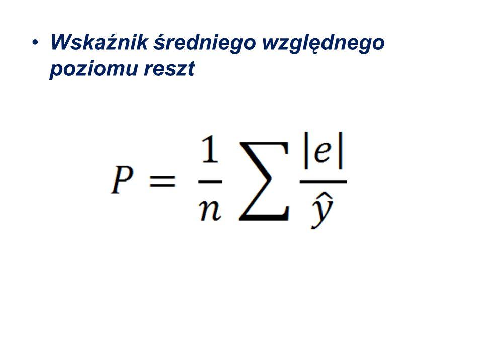 P = 0,338 – reszty modelu stanowią 0,338 teoretycznych wartości zmiennej objaśnianej.