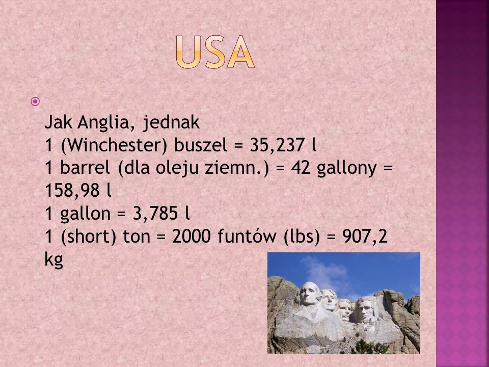  1 mila geograficzna = 7420,44 m 1 mila morska = 1852 m 1 węzeł = 1,829 m 1 tona rejestrowa (miara okrętowa) = 2,8315 m 3 1 tona rejestr.