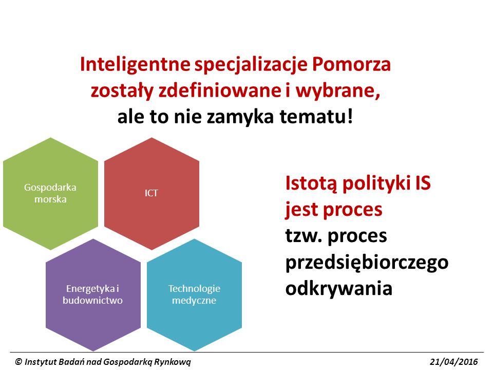 Zasadniczy cel polityki IS znalezienie atrakcyjnych obszarów/kierunków dla zainwestowania środków publicznych i prywatnych w zakresie B+R+I w celu wejścia na nowe nisze rynkowe i wykreowania konkurencyjnych globalnie specjalizacji przyszłości (motorów rozwojowych) – zarówno nowych, jak i będących kontynuacją dotychczasowych © Instytut Badań nad Gospodarką Rynkową 21/04/2016 Cele szczegółowe strategiczna priorytetyzacja (zdefiniowanie specjalizacji) dobre projekty B+R+I (głównie z sektora przedsiębiorstw, ale także uczelni) projekty kluczowe i horyzontalne (w zakresie infrastruktury B+R, edukacji, specjalistycznego wsparcia itp.) inwestycja w ekosystemy rozwojowe (stworzenie mechanizmów współpracy i kultury procedowania niezbędnych dla prowadzenia działalności innowacyjnej i poszukiwania nowych obszarów działania)