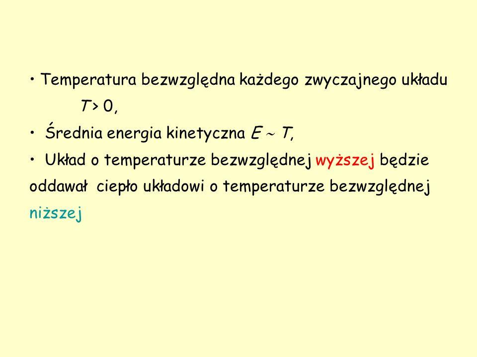 Pomiar temperatury Termometr – dowolny układ makroskopowy do mierzenia temperatury: parametr termometryczny układu zmienia się dostatecznie szybko, gdy układ traci lub pobiera energię jest znacznie mniejszy niż układy, które badamy przy jego pomocy.
