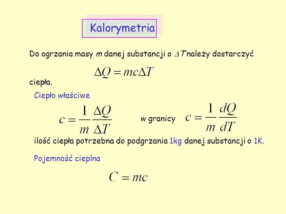 Jeśli ciepło właściwe jest funkcją temperatury to (zazwyczaj niewiele zależy od temperatury) Ciepło właściwe J/(kgK) Ciepło topnienia J/kg Ciepło parowania J/kg aluminium89532·10 4 miedź39522·10 4 platyna12010.5·10 4 woda418733.4·10 4 22.6·10 4 benzen171012.7·10 4 39.4·10 4 rtęć138.511.7·10 3 27·10 4