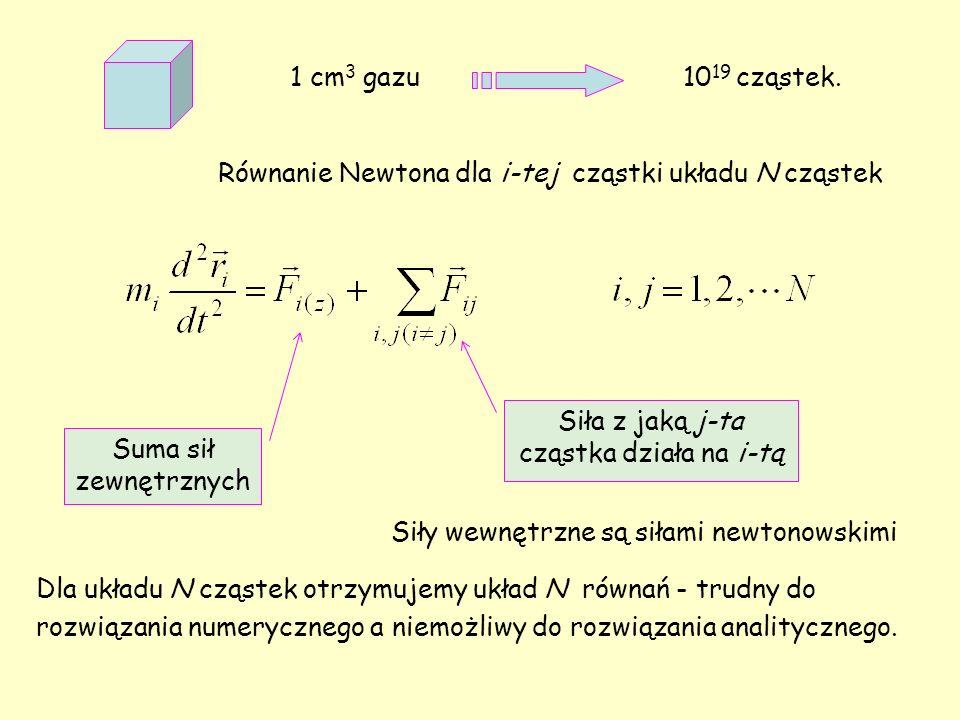 Opis metodami statystycznymi Stan układu (gazu) jako całości jest opisany przez: temperaturę, ciśnienie objętość.