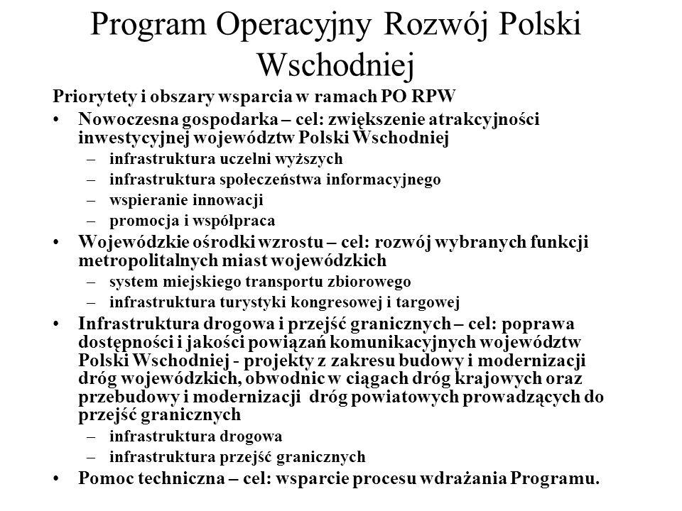Program Operacyjny Infrastruktura i Środowisko Głównym celem Programu jest podniesienie atrakcyjności inwestycyjnej Polski i jej regionów poprzez rozwój infrastruktury technicznej przy równoczesnej ochronie i poprawie stanu środowiska, zdrowia społeczeństwa, zachowaniu tożsamości kulturowej i rozwijaniu spójności terytorialnej.