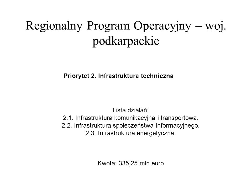 Regionalny Program Operacyjny – woj.podkarpackie Priorytet 3.