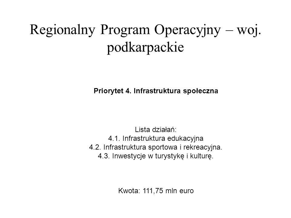 Regionalny Program Operacyjny – woj.podkarpackie Priorytet 5.