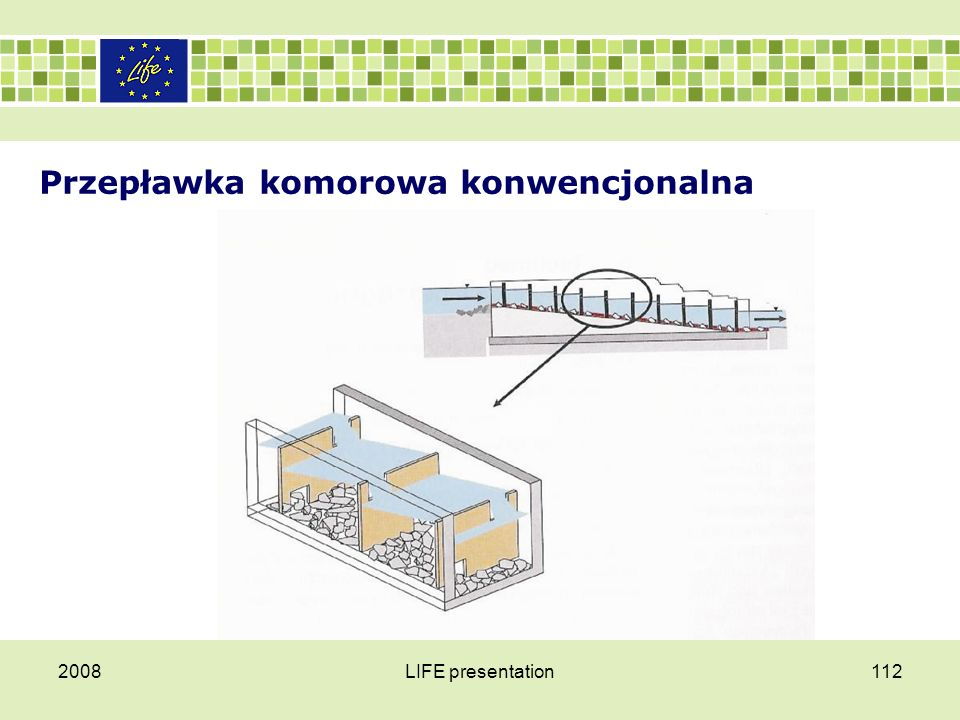 Przepławka komorowa konwencjonalna W konstrukcji konwencjonalnej przepławki komorowej, ważne jest, aby dno przepławki było szorstkie, co zapewnia możliwość migrowania małym rybom i innym organizmom.