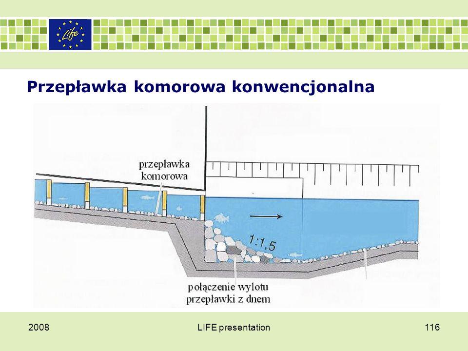 Przepławka komorowa konwencjonalna Za główną zaletę przepławek komorowych uważa się to, że mogą one sprawnie działać nawet przy niskich stanach wód.