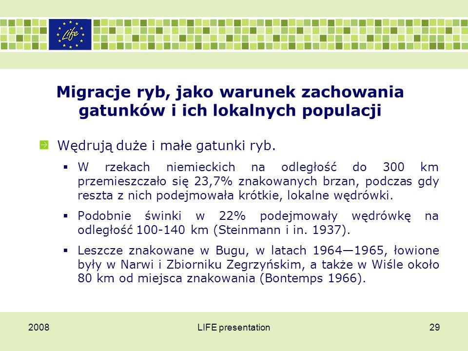 2008LIFE presentation30 Migracje ryb, jako warunek zachowania gatunków i ich lokalnych populacji Wpuszczane do Zbiornika Zegrzyńskiego  tołpygi w 42% były łowione poza zbiornikiem, w Narwi, Bugu i Wiśle,  natomiast spośród wpuszczonych do tego zbiornika karpi, poza nim odłowiono tylko 0,6% znakowanych ryb.