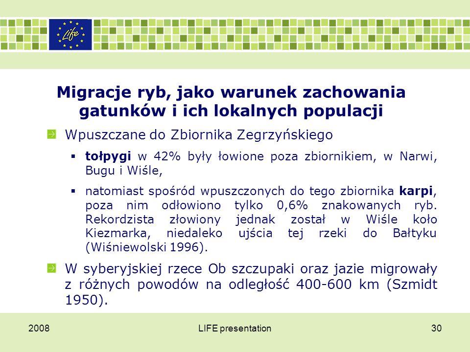 2008LIFE presentation31 Migracje ryb, jako warunek zachowania gatunków i ich lokalnych populacji Wśród małych gatunków ryb przemieszczanie na odległość kilkunastu kilometrów obserwowano między innymi u ciernika i głowacza białopłetwego (Kónig 1969, Bless 1990).