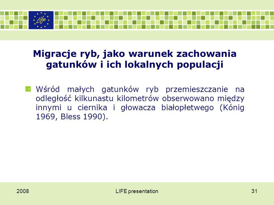 2008LIFE presentation32 Migracje ryb, jako warunek zachowania gatunków i ich lokalnych populacji Jednakże nie tylko ryby podejmują migracje.