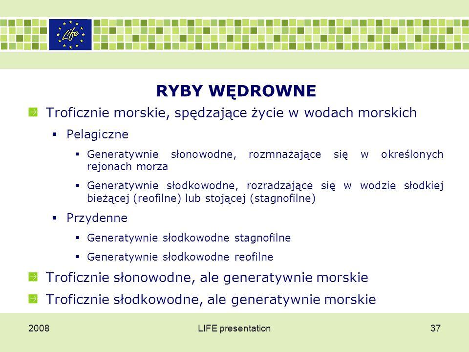 RYBY PÓŁWĘDROWNE — PRZYUJŚCIOWE Generatywnie reofilne Generatywnie stagnofilne 2008LIFE presentation38