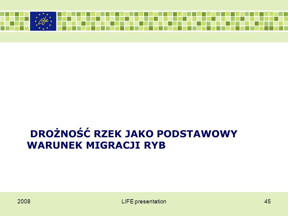 Drożność rzek jako podstawowy warunek migracji ryb Antropogeniczne zmiany – głównie:  zanieczyszczenia,  przegradzanie rzek (zapory, jazy, stopnie wodne, zbiorniki zaporowe),  pobór kruszywa z koryta,  nadmierny wyrąb lasów,  pobór wody do celów rolniczych  i niekontrolowana eksploatacja (Wiśniewolski 1987, 1992, 2002) jakie odnotowano w ekosystemach Polskich wód płynących w okresie ostatnich kilkudziesięciu lat spowodowały szybkie przekształcenie struktury rodzimej ichtiofauny.