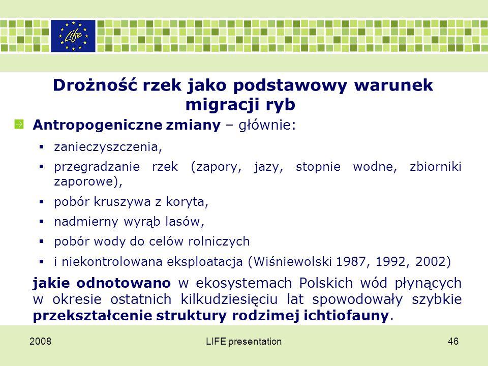 Drożność rzek jako podstawowy warunek migracji ryb Niektóre gatunki wyginęły na terytorium Polski, a kilkanaście dalszych gatunków ryb i minogów zostało umieszczonych w kategoriach najwyższych zagrożeń (Kotusz i in.