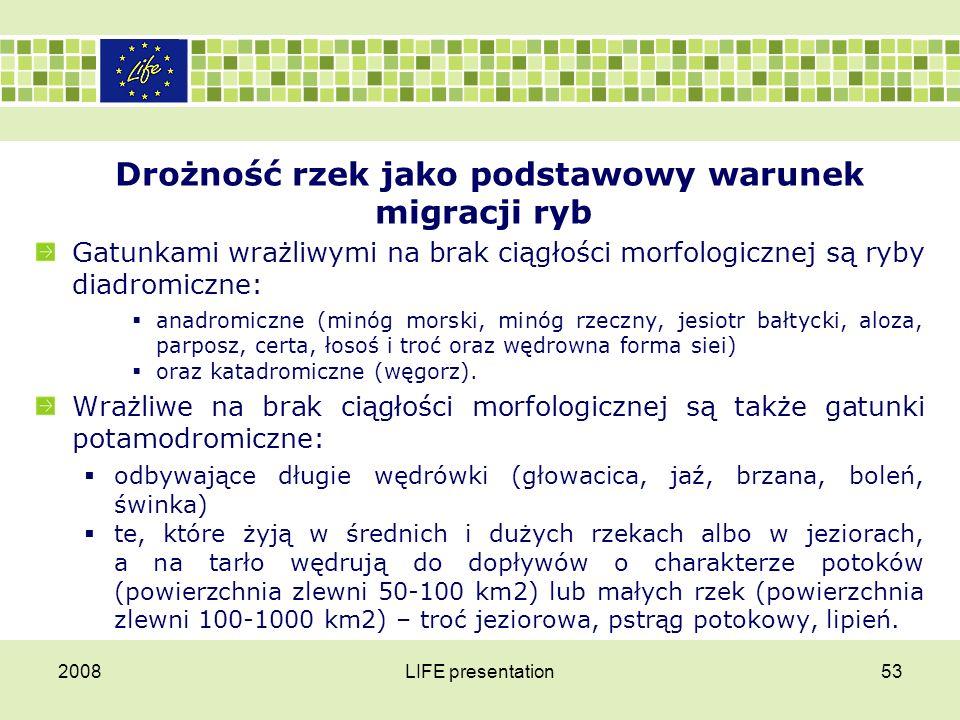 Drożność rzek jako podstawowy warunek migracji ryb Ograniczająco na możliwości migrowania ryb oddziałują nie tylko tak duże piętrzenia jak to na Wiśle we Włocławku.