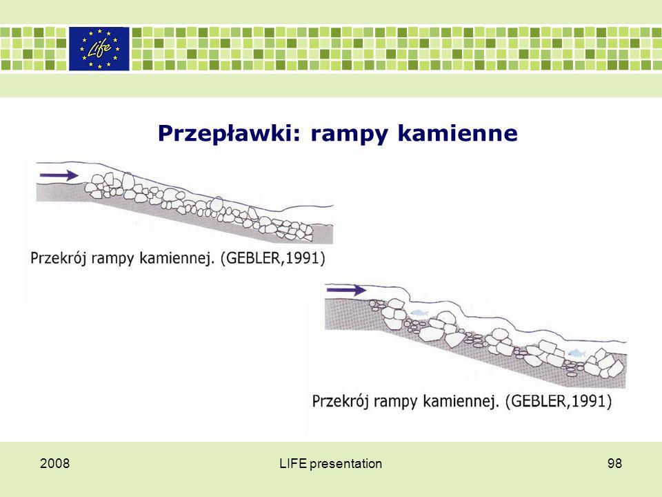 Przepławki Rampy narzutowe z powodzeniem można stosować przy udrażnianiu istniejących niskich stałych stopni i progów betonowych.