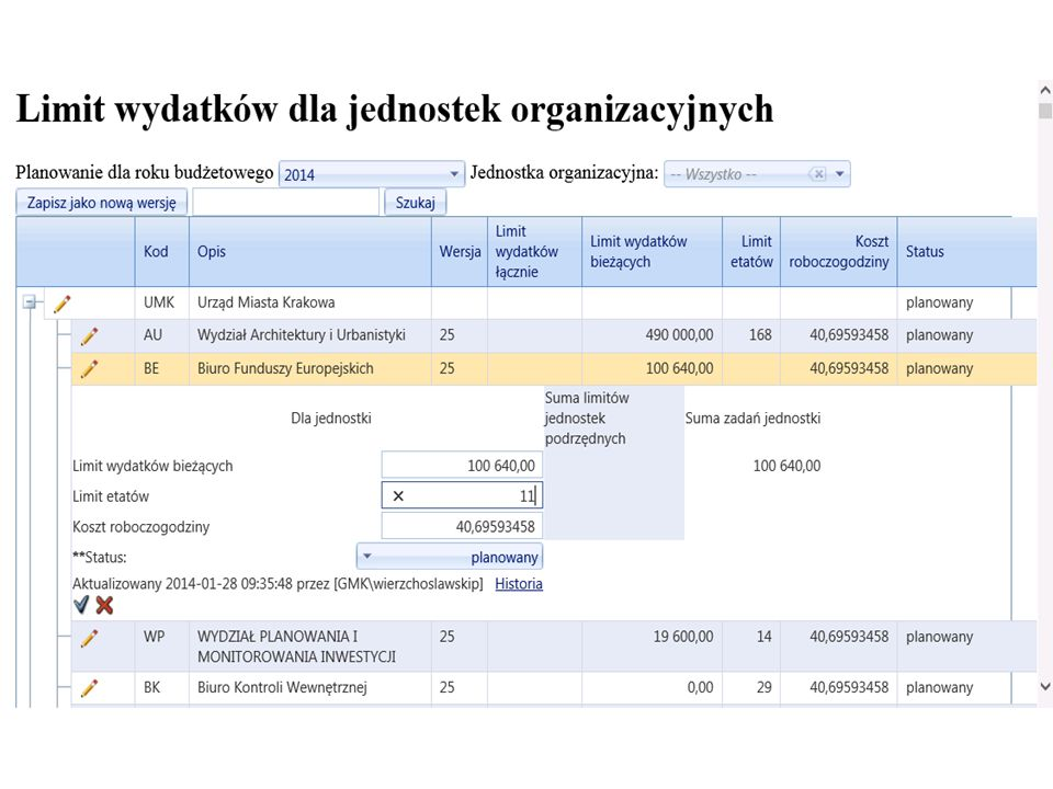 Dane do planowania zadań typu B Krok 2.