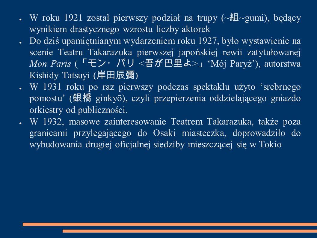 ● Na mocy cesarskiego rozkazu wydanego w marcu 1944 roku, Teatr Takarazuka został zamknięty ● W latach 1945-1946 zwierzchnictwo nad Takarazuką przejęły wojska alianckie ● Powtórne otwarcie Teatru Takarazuka dla japońskiej publiczności nastąpiło dopiero 22 kwietnia 1946 roku ● W lutym 1958 roku po raz pierwszy na spektaklu Takarazuki gościli przedstawiciele japońskiej rodziny cesarskiej (cesarzowa oraz cesarzowa matka).